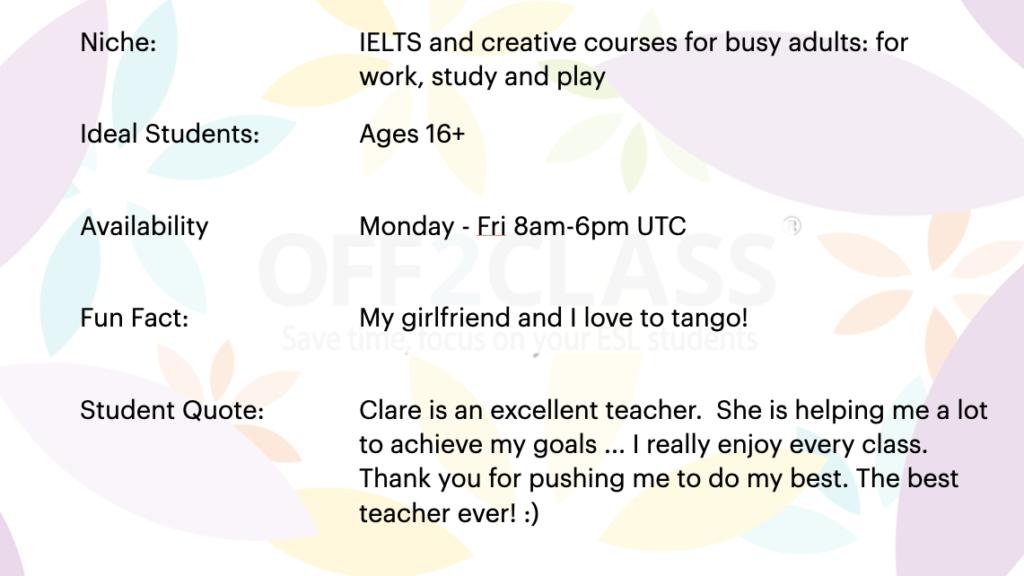 online ESL Teacher Clare