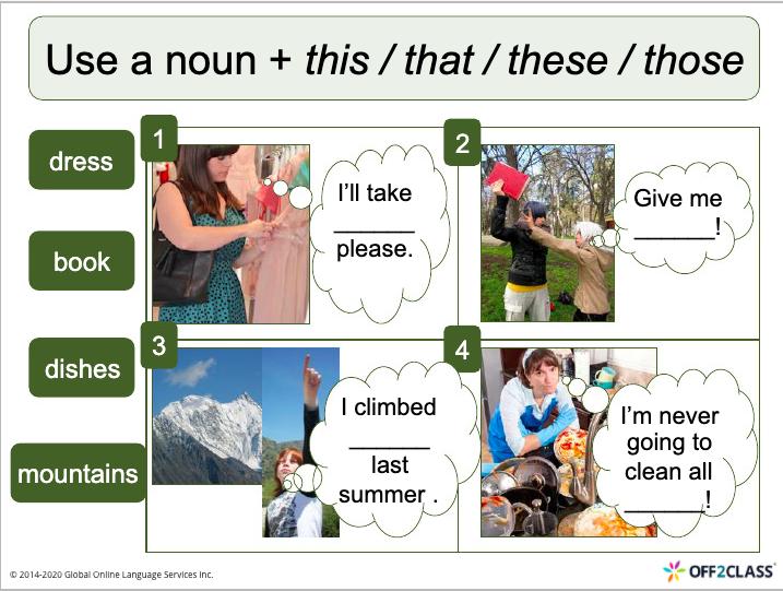 Teach demonstrative pronouns