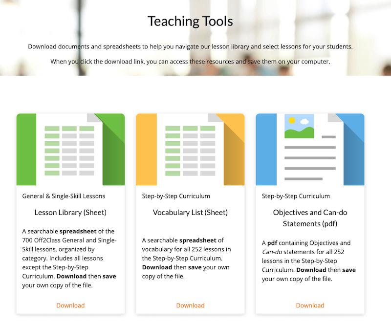 Off2Class Teaching Tools