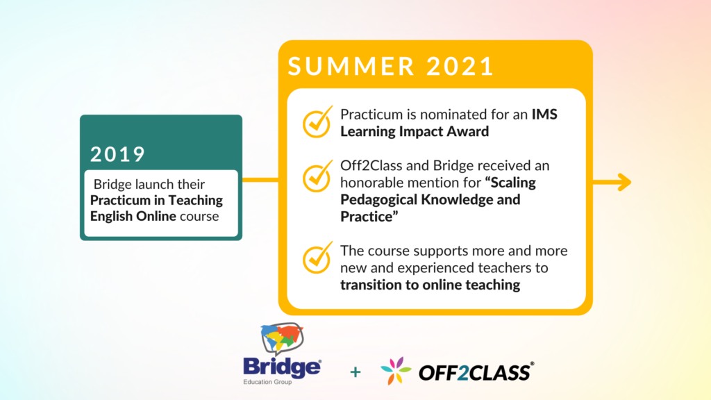 Infographic Bridge Education Group and Off2Class, achievements between 2019 and 2021.